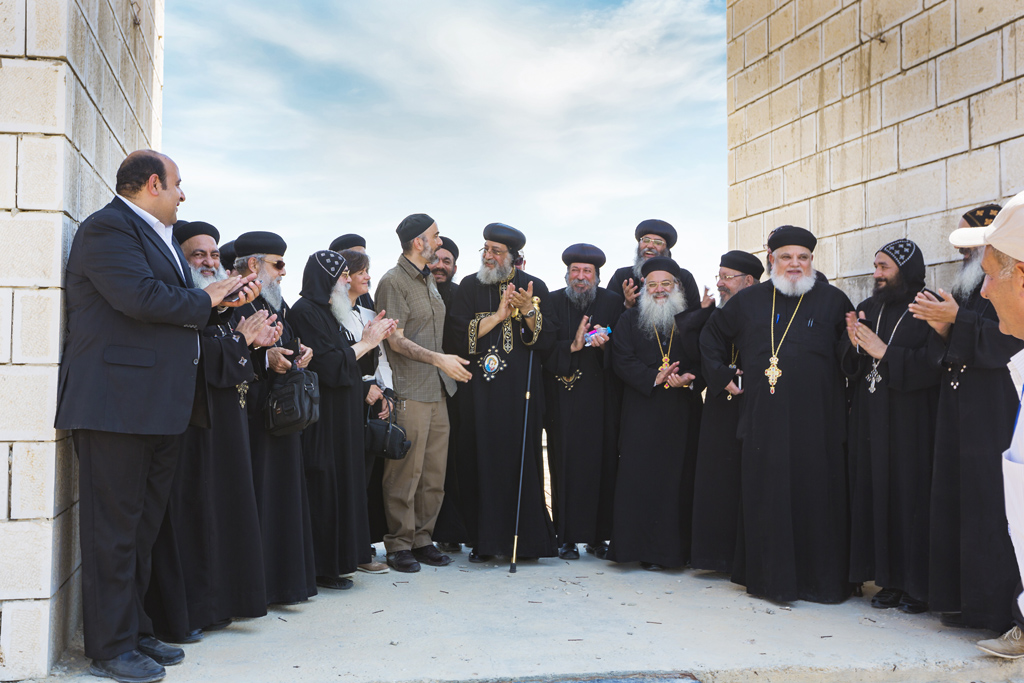 H.H. Pope Tawadros II with H.R.H. Prince Ghazi bin Muhammad bin Talal (centre)